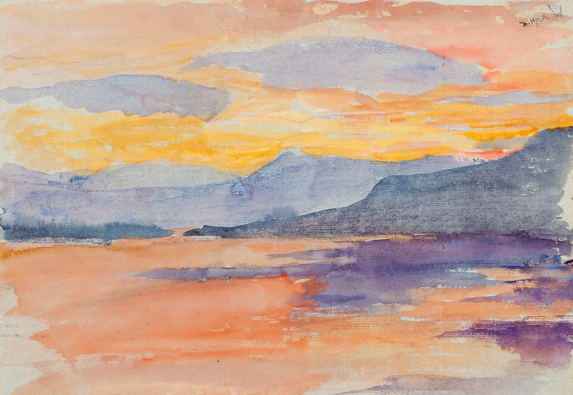 Maria Wiik - Mountain landscape in the evening sky