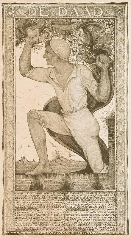 Jac Jongert - Man met banier en bloesemtak