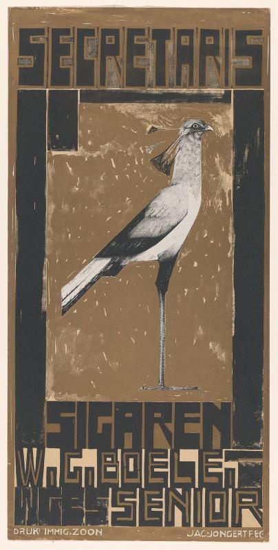 Jac Jongert - Reclamebiljet voor Secretaris-Sigaren, met vogel
