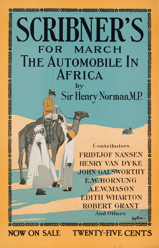 Adolph Treidler - Scribner's for March, the automobile in Africa by Sir Henry Norman, MP