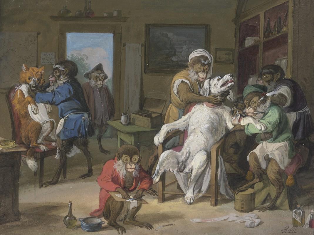 Anton Radl - Barbierstube, Affen rasieren Hunde