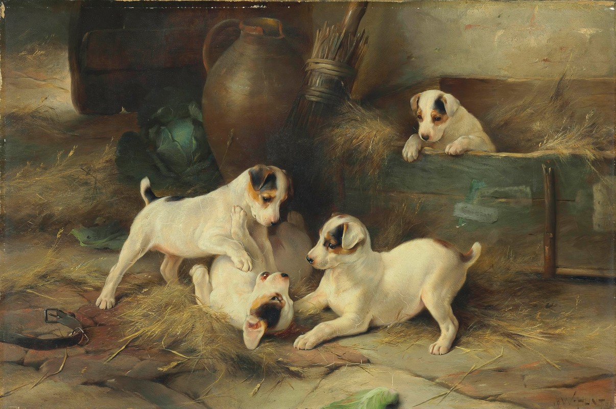 Walter Hunt - Four Puppies at Play