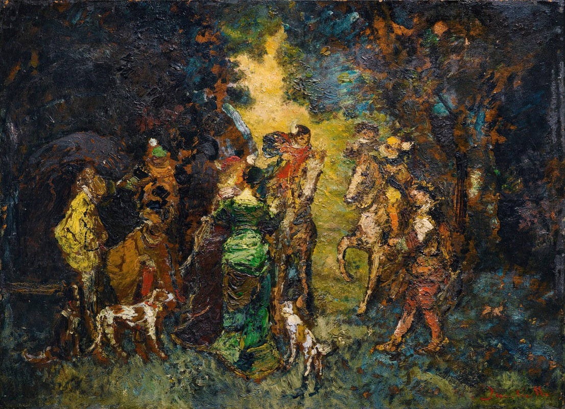 The Hunting Meeting by Adolphe-Joseph-Thomas Monticelli - Artvee