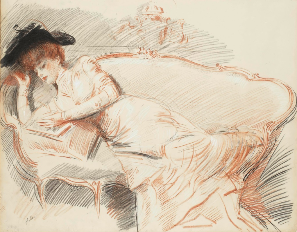 Paul César Helleu - Elégante lisant sur un canapé