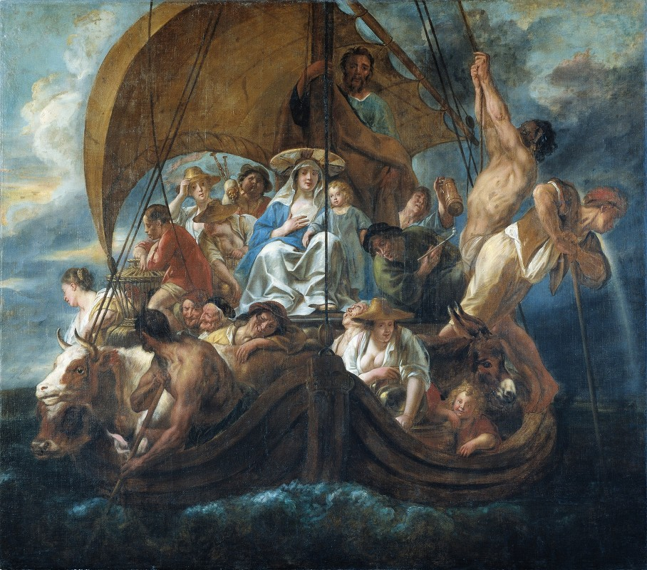 Jacob Jordaens - The Holy Family With Various Persons And Animals In A Boat