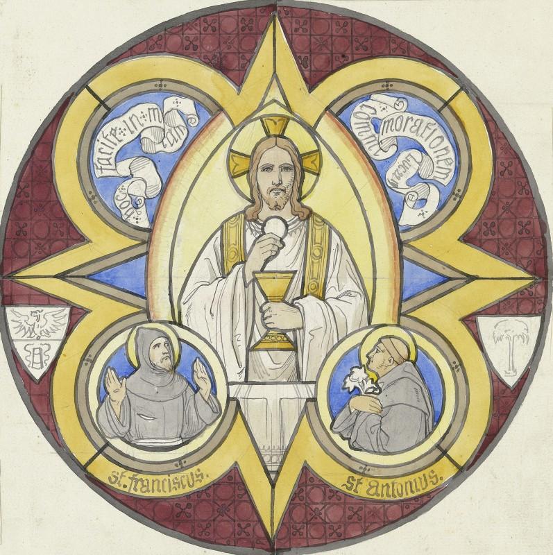 Edward Von Steinle - Christus mit Stola, Kelch und Hostie, daneben die Heiligen Franziskus und Antonius