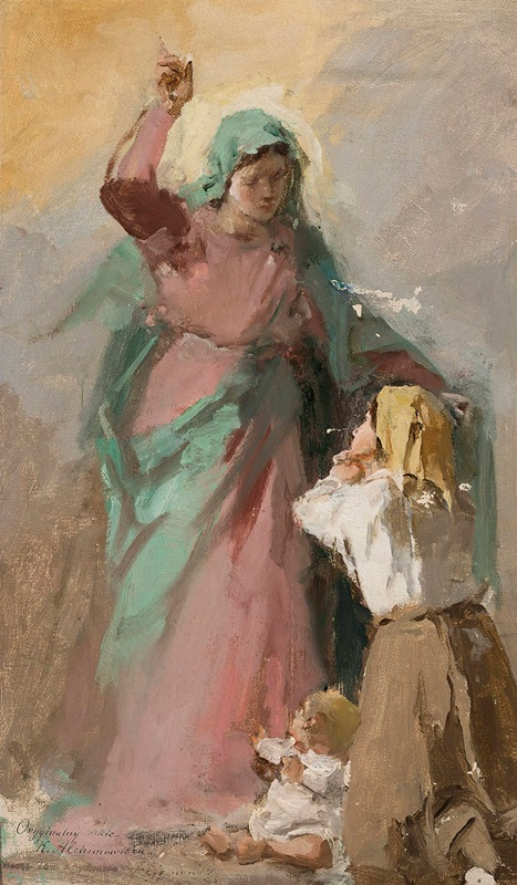 Kazimierz Alchimowicz - Virgin Mary appearing before a peasant woman, study