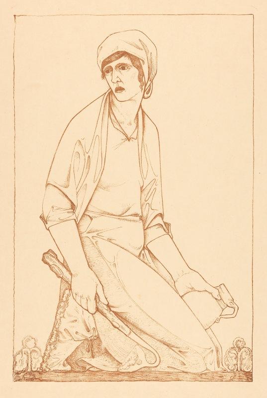 Jac Jongert - Knielende figuur met schoffel en kruik
