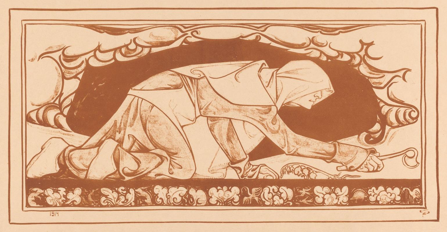 Jac Jongert - Man in monnikspij kruipend met schoffel