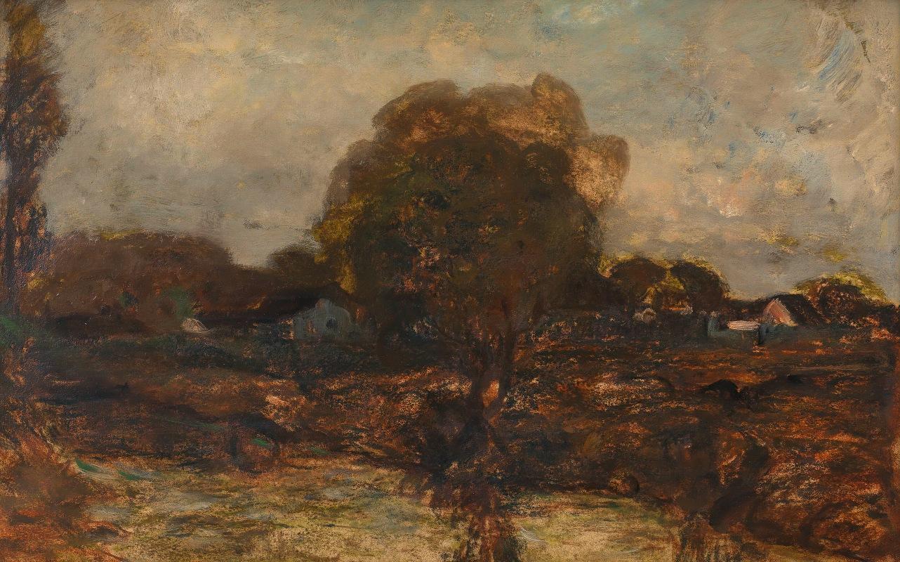 Adolf Hölzel - Flusslandschaft mit Dorf