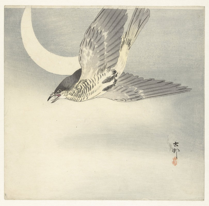 Ohara Koson - Cuckoo at crescent moon