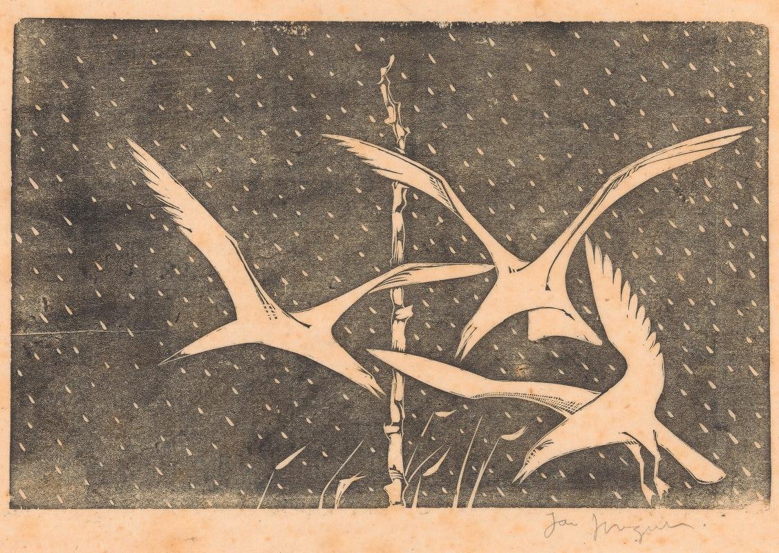 Jac Jongert - Drie vogels vliegend in de regen