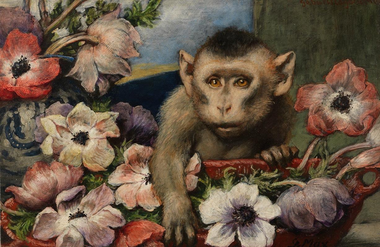 Gabriel von Max - Geburtstagsblumen (Affe mit Anemonen)