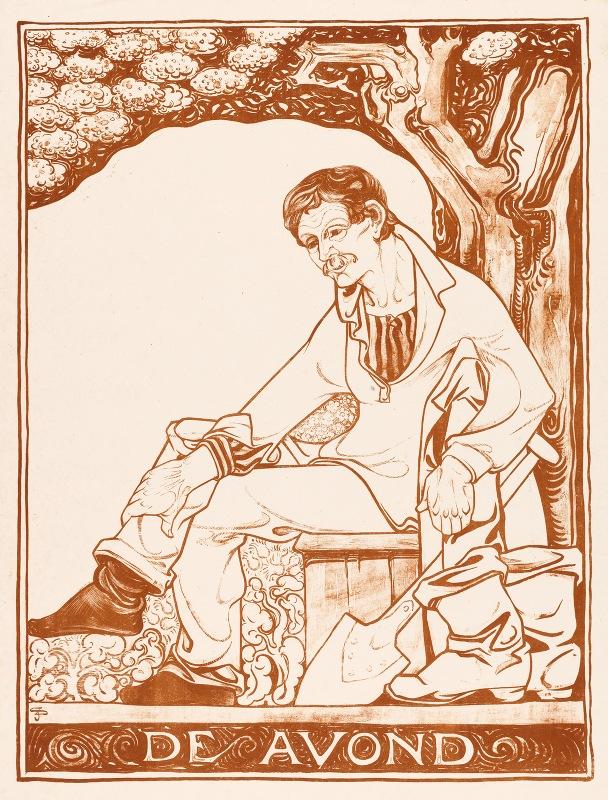 Jac Jongert - Man met schep zittend onder een boom