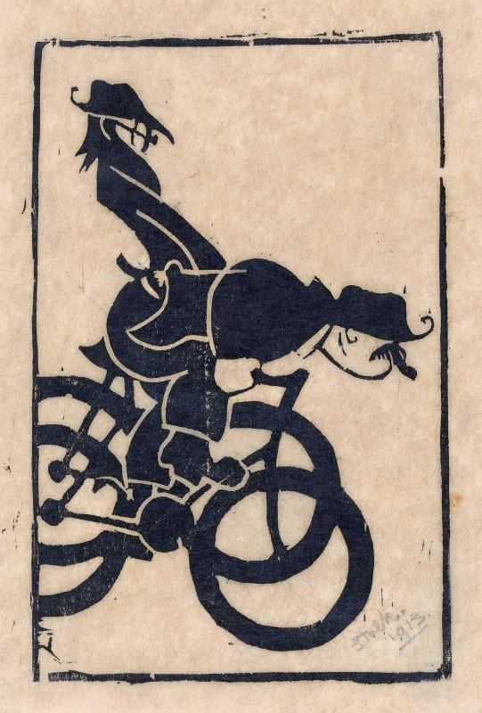 Reijer Stolk - Karikatuur van Chris Lebeau en Frits Grabijn op de fiets